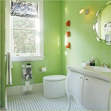 green bathroom with modern and cool design ideas green