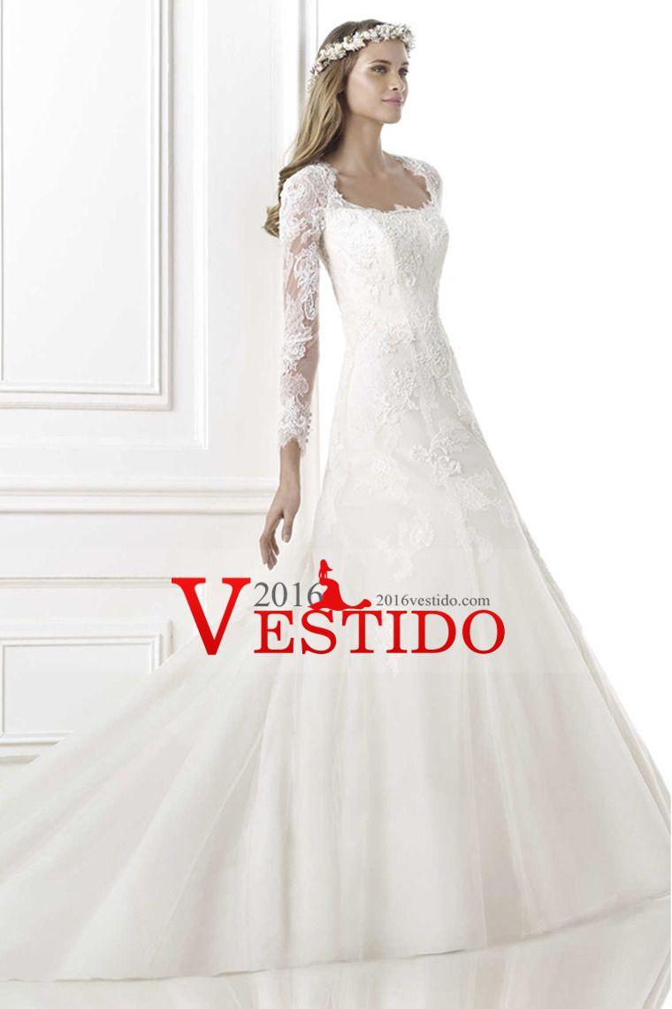 2016 vestido de novia Apasionado Cuadrado Encuadre mangas vaina ...