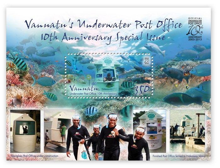 Postamt unter Wasser http://briefmarkenspiegel.com/web/2014/04/07/marke-der-woche-harmloser-unfug/