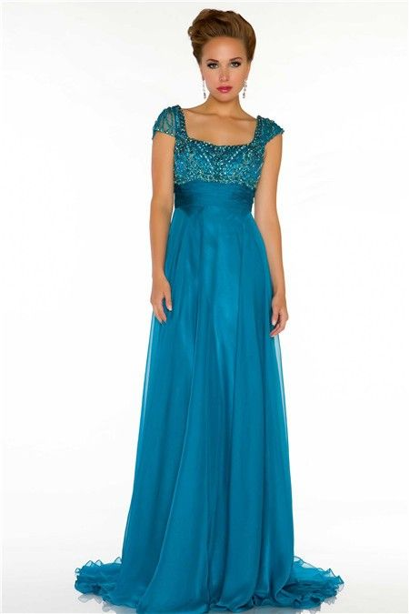 Turquoise A-Line Prom Dresses
