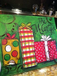 easy+christmas+paintings+on+canvas | Gingerbread House Scripture Canvas Original Painting…