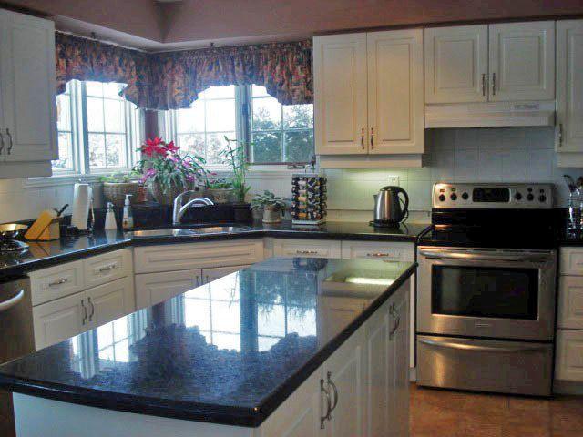 Black Granite Kitchen Countertop Stained Concrete Countertops