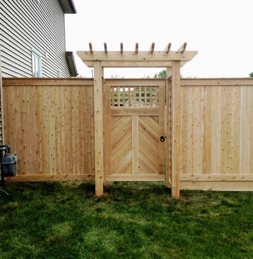 Herringbone Cedar Gate With Lattice And Pergola Top Snug