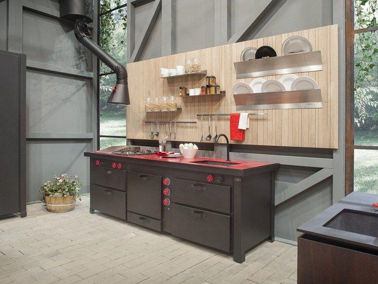 Cucina in metallo - MINÀ PROFESSIONAL A PARETE - Minacciolo | Arch ...
