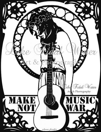Make Music Not War Art Nouveau Print by liketidalwater on Etsy, $4.00