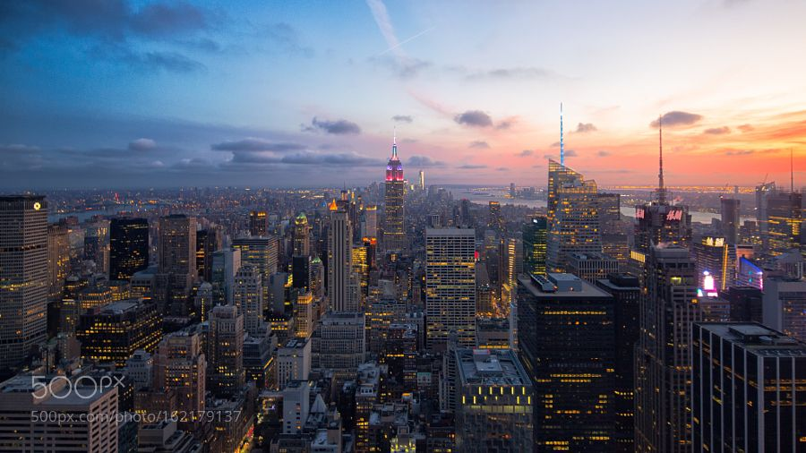 New York Skyscrapers Sunset by ShuoFeng