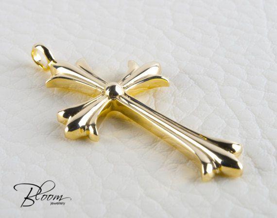 Mens Gold Cross Pendant Gold Cross Necklace 14k Solid Gold Cross Mens Cross Pendant Gold Cross Pendant Cr Gold Cross Pendant Solid Gold Necklace Chains For Men