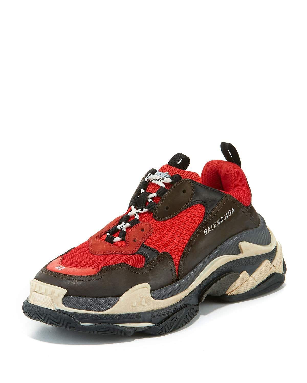 9976e3bed1b04 BALENCIAGA MEN'S TRIPLE S MESH & LEATHER SNEAKERS, RED. #balenciaga #shoes