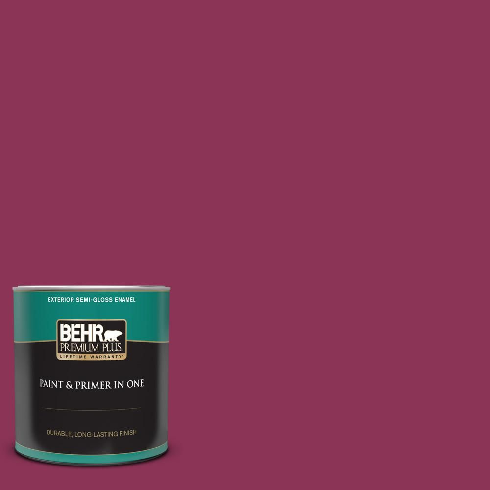 BEHR PREMIUM PLUS 1 qt. 120D-6 Cranberry Splash Semi-Gloss Enamel Exterior Paint and Primer in One-534004 - The Home Depot
