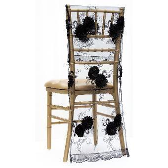 Vintage Veil Chiavari Chair Full Back Cover - Black