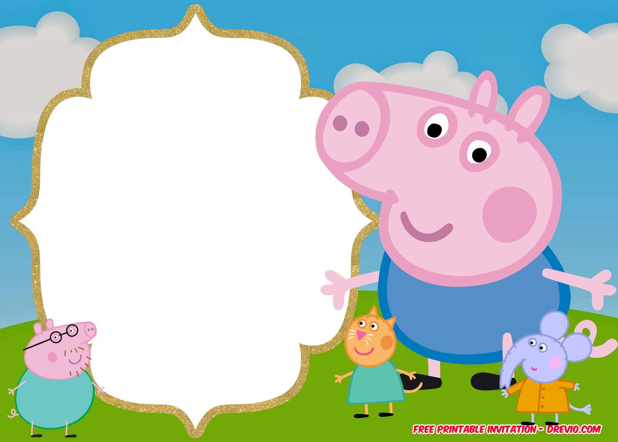 free printable peppa pig invitation