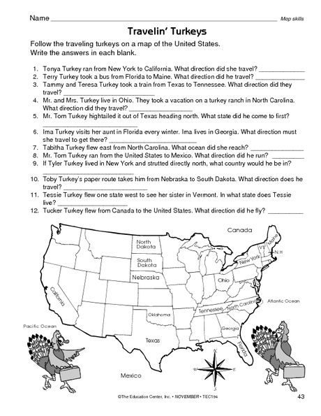 Thanksgiving Worksheet: map skills | Map skills ...