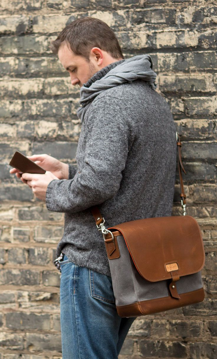 Crafted leather and canvas Messenger bag by Pad  amp  Quill. Available  here  http 125b632470368