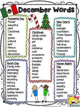 December Word Lists Word List Teaching Spelling Words Words