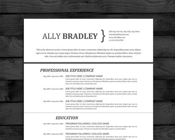 Resume Template Professional CV Template Mac  PC Word + Pages