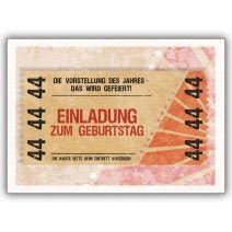 Party Einladungskarte Zum 44. Geburtstag Im Coolen Ticket Look