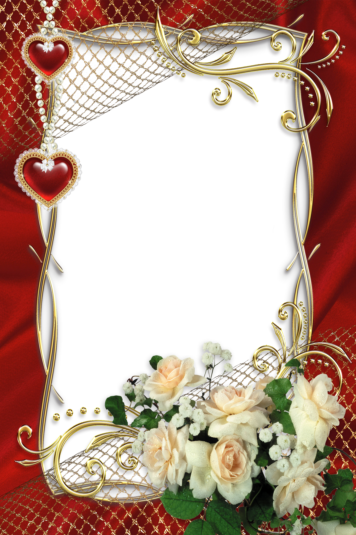 beautiful red transparent frame with white roses