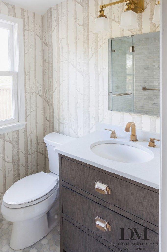 Design Manifest  Master Bathroom Cerused Oak Vanity Woods Wallpaper, Brass  Fixtures