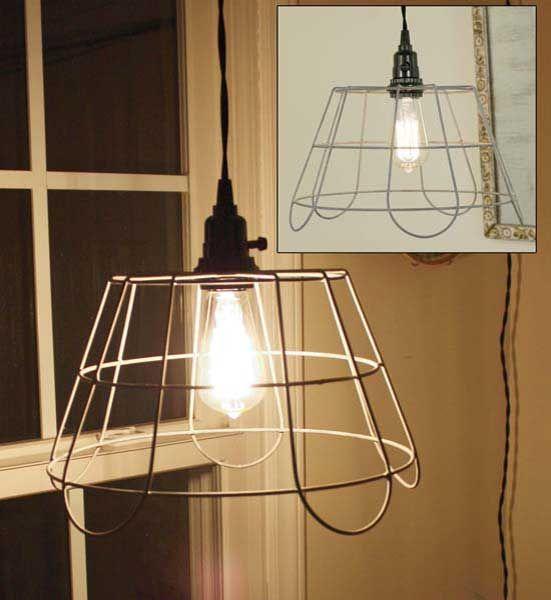 Large Hanging Wire Basket Pendant Lamp-Pendant Lamp, Pendant Light ...