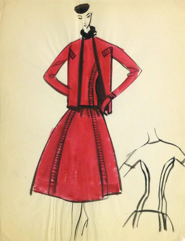 Pierre Balmain Vintage Balmain Fashion Sketch - Red Dress and Coat, Circa 1950