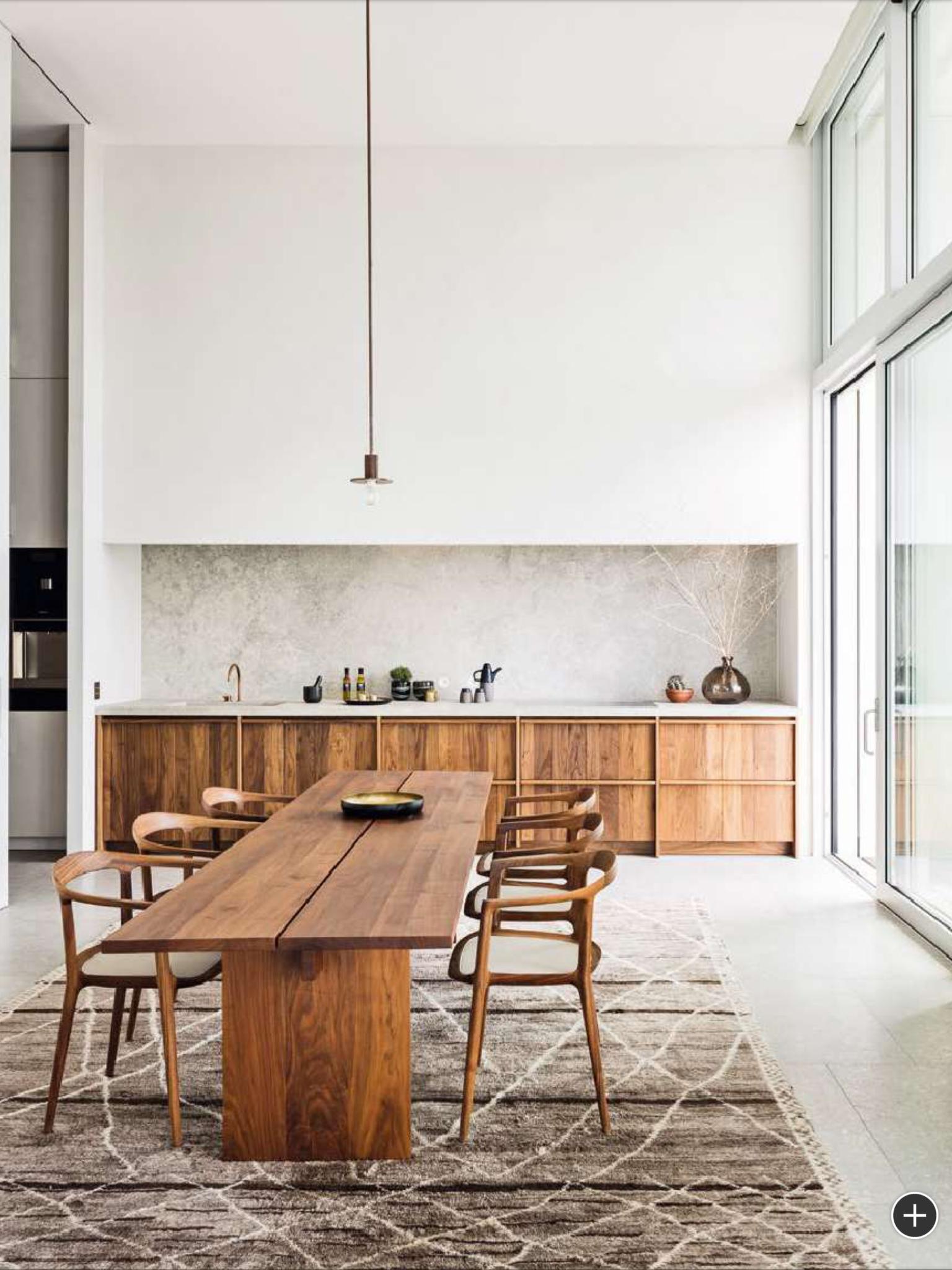 Simple Minimalist Dining Set: Spacious Minimalist Dining Room // Long Farmhouse Table
