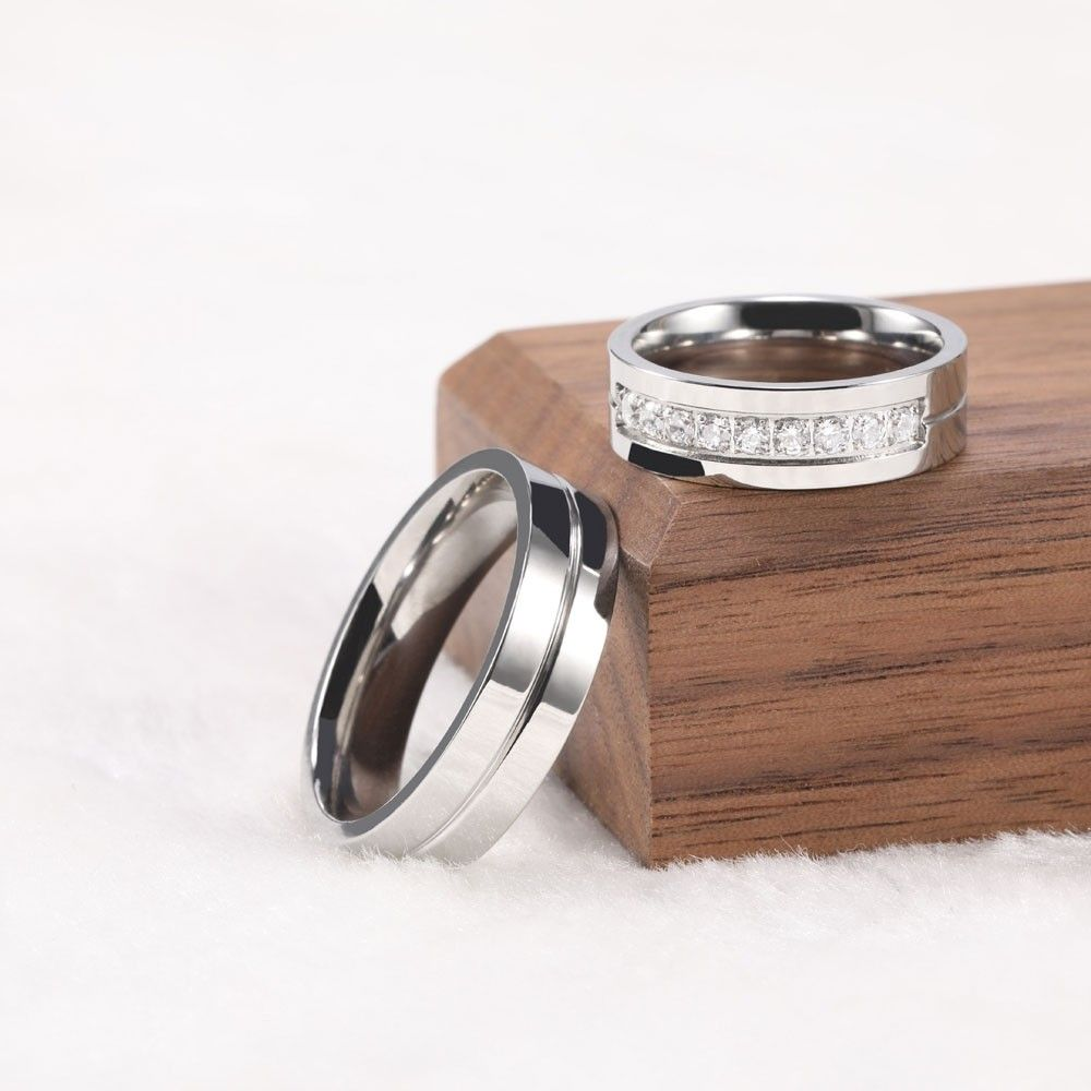 Silver CZ Couple Rings in Titanium Steel Ring trends