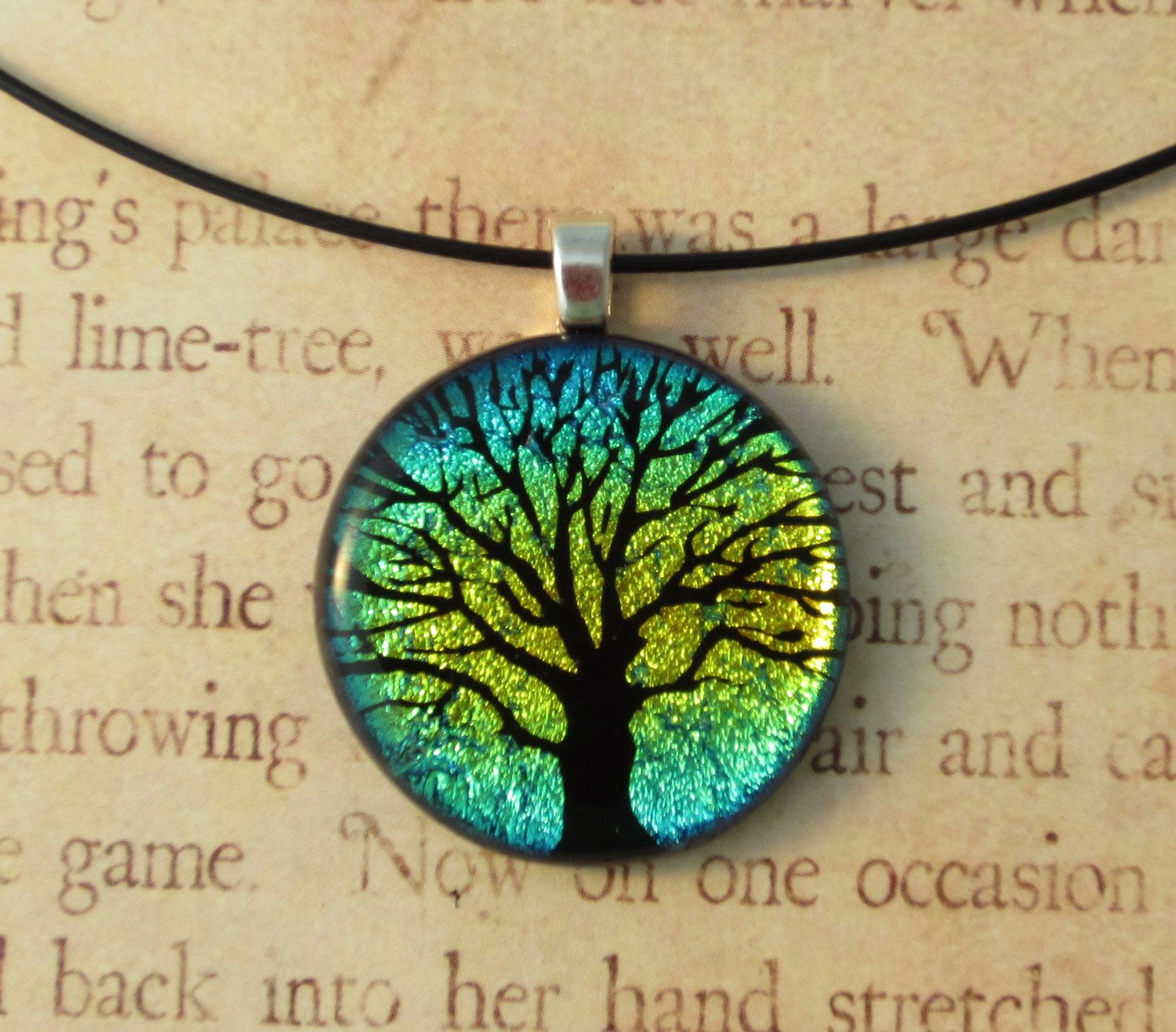 Fused Glass Yellow Rainbow Tree of Life Pendant - by Lindsey Macklem ...