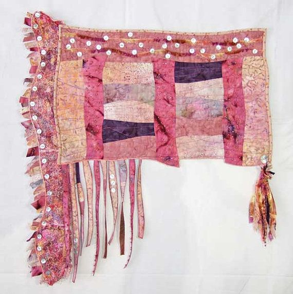 Quilted Fiberart Wall Hanging with Beads by thornberrystudio, $475.00