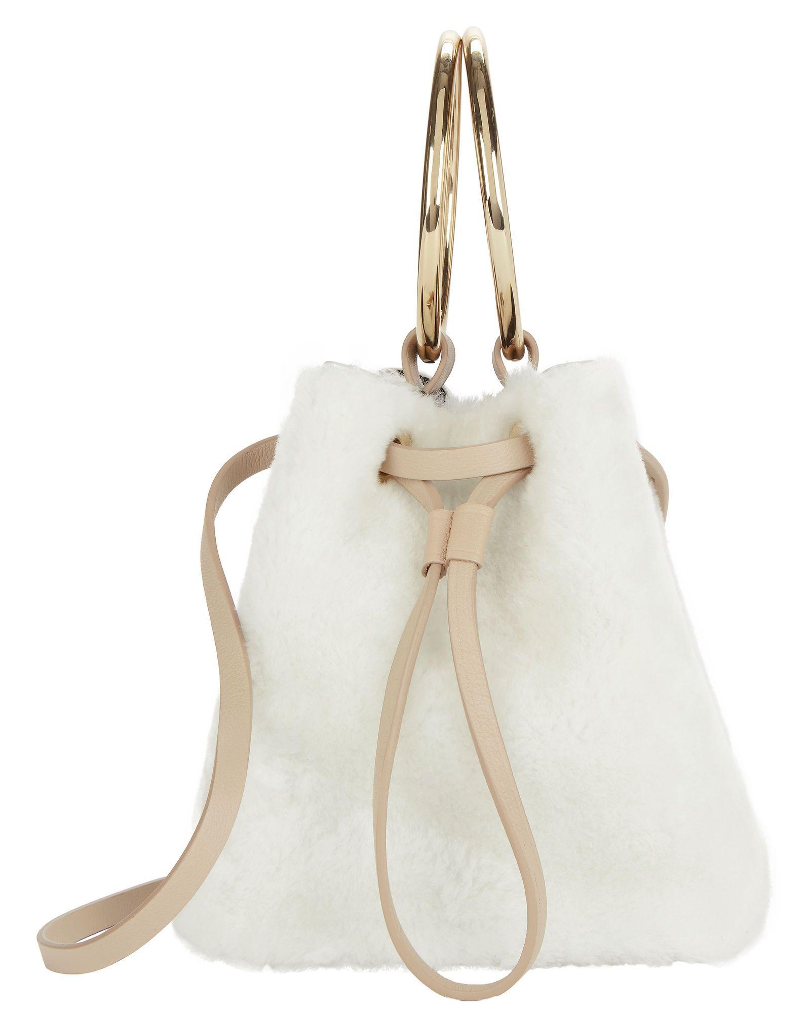 White Shearling Mini Bucket Crossbody Bag