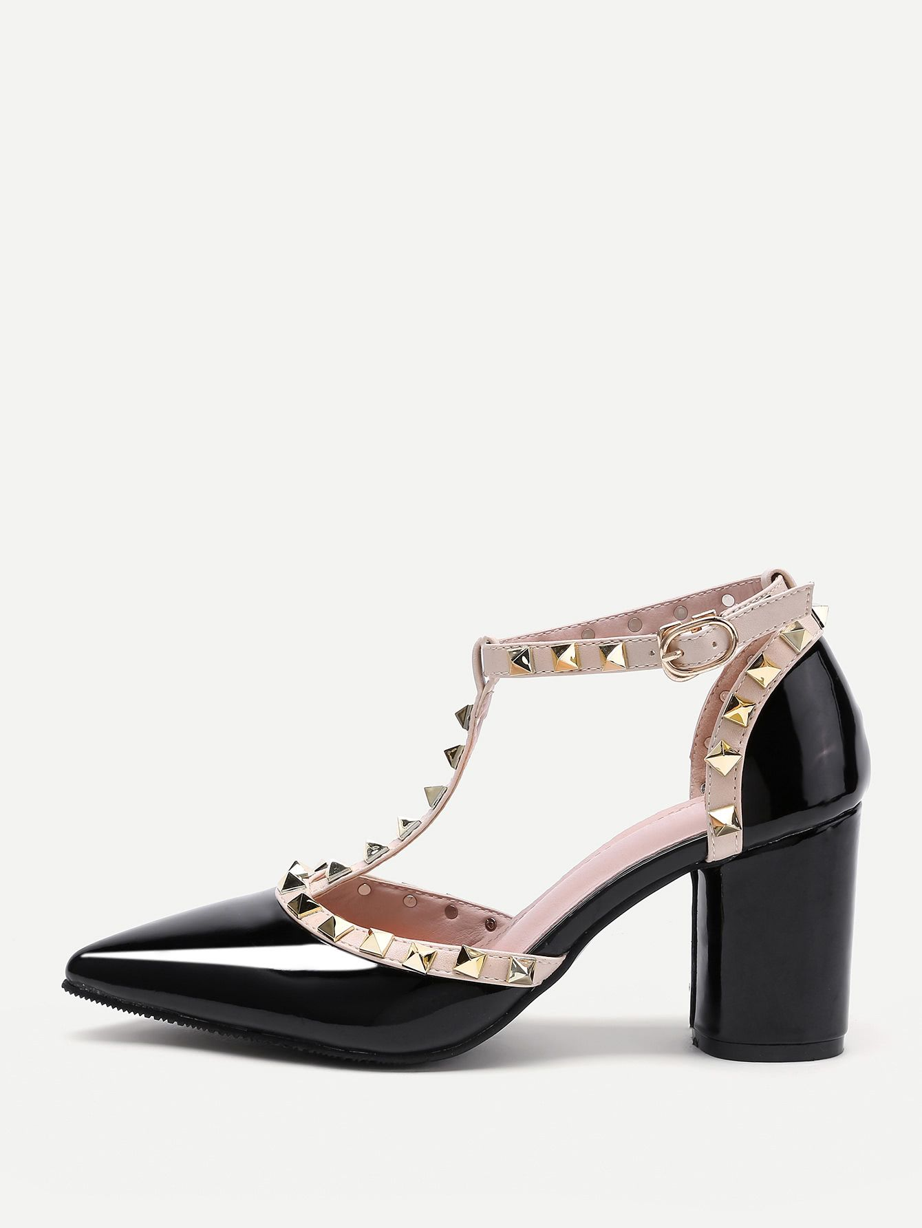 Shop Rockstud Decorated Point Toe Heeled Shoes Online