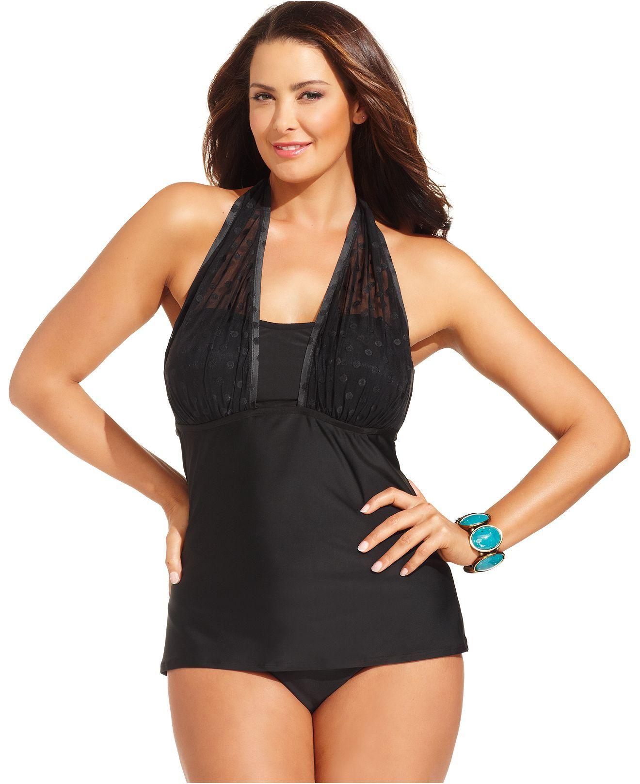 christina plus size swimsuit, halter mesh-dot tankini top & high