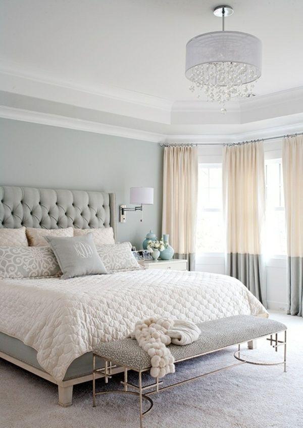 beige grau Schlafzimmer Leder Bett Kopfteil Design | Einrichtung ...