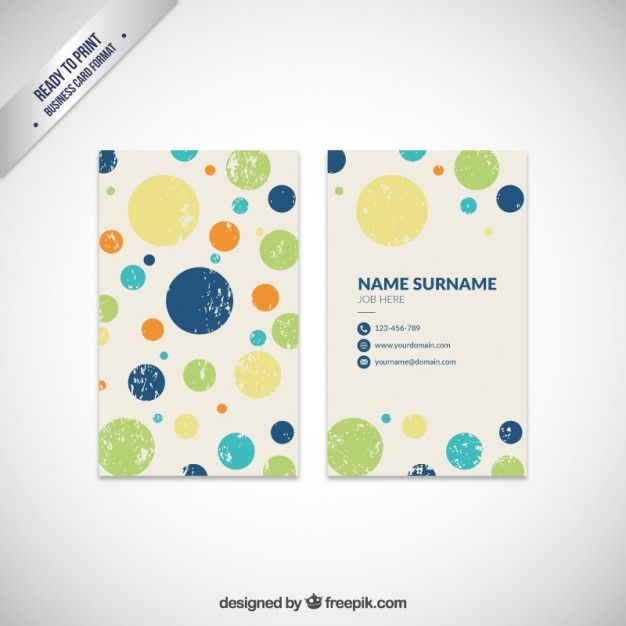 Dotted Business Card Free Vector