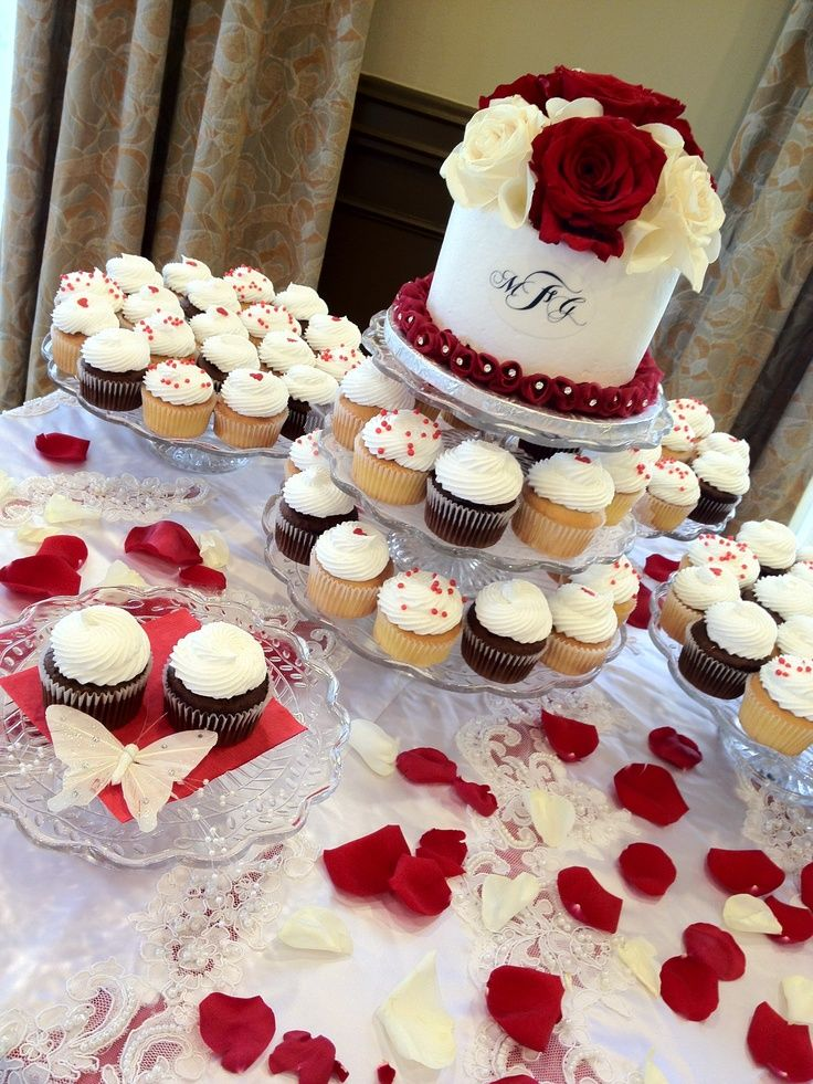 Red And White Wedding Cupcake Display