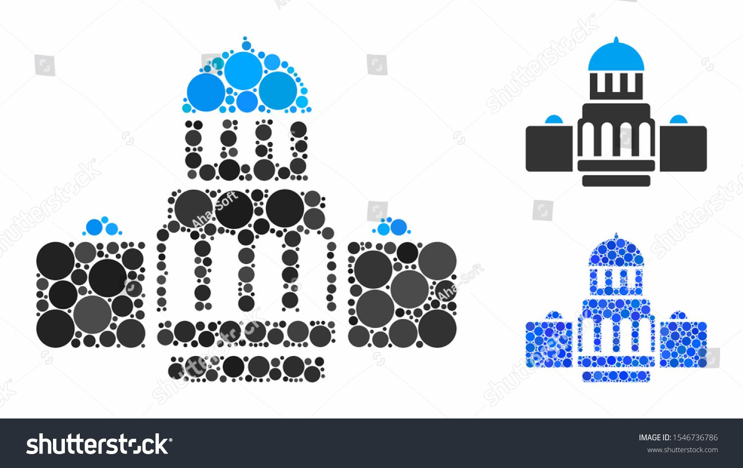 Government buildings composition of round dots in variable