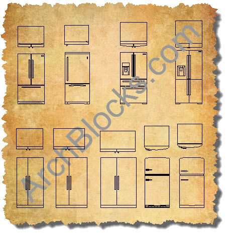 Archblocks Autocad Refrigerator Block Symbols Room Furniture