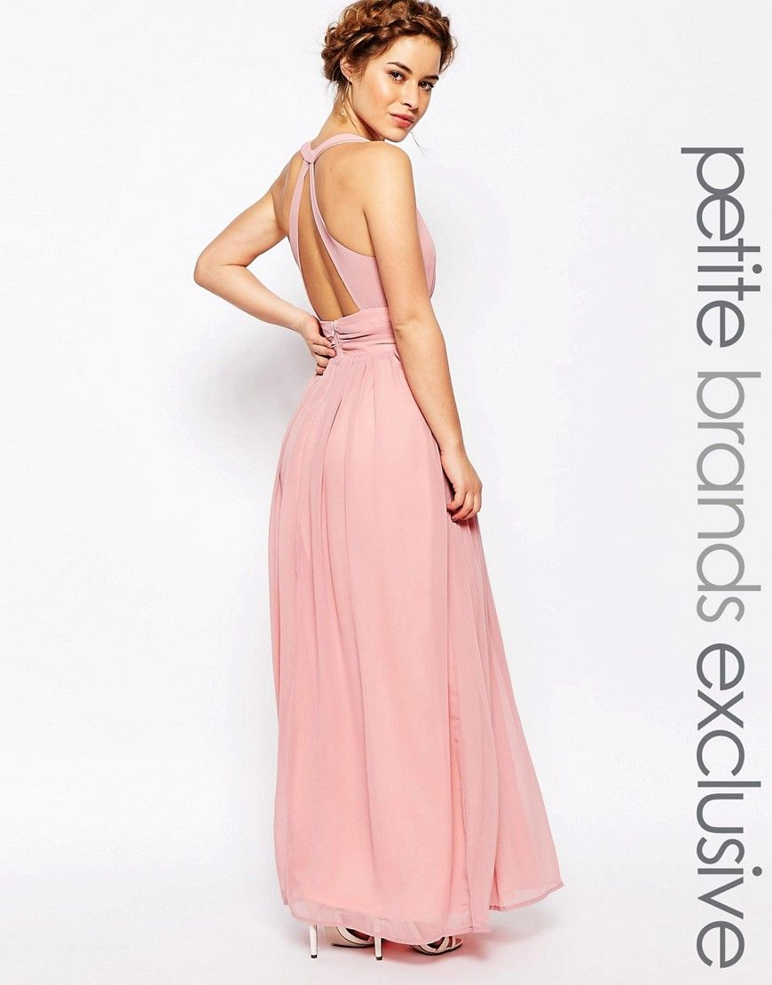 True Decadence Petite Plunge Front Open Back Maxi Dress
