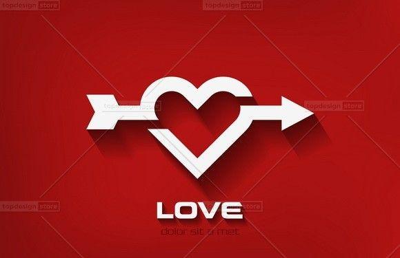 Logo Heart arrow valentines day vector design template. Cupid shot icon. In love concept idea.