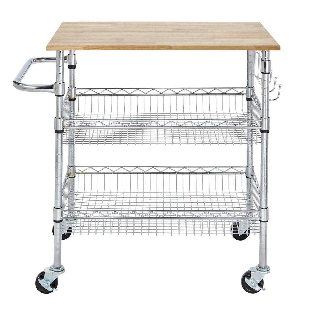 Stylewell Gatefield Chrome Kitchen Cart With Natural Wood Top H17110707 The Home Depot Kitchen Cart Home Depot Kitchen Chrome Kitchen