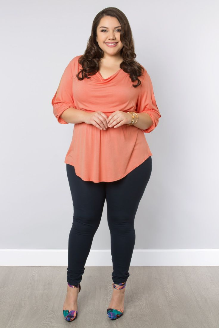 dffc6a65e8b Our tunic-style plus size Cayden Cold Shoulder Top is on sale and looks  adorable in peach! Browse our entire made in the USA collection online at  ...