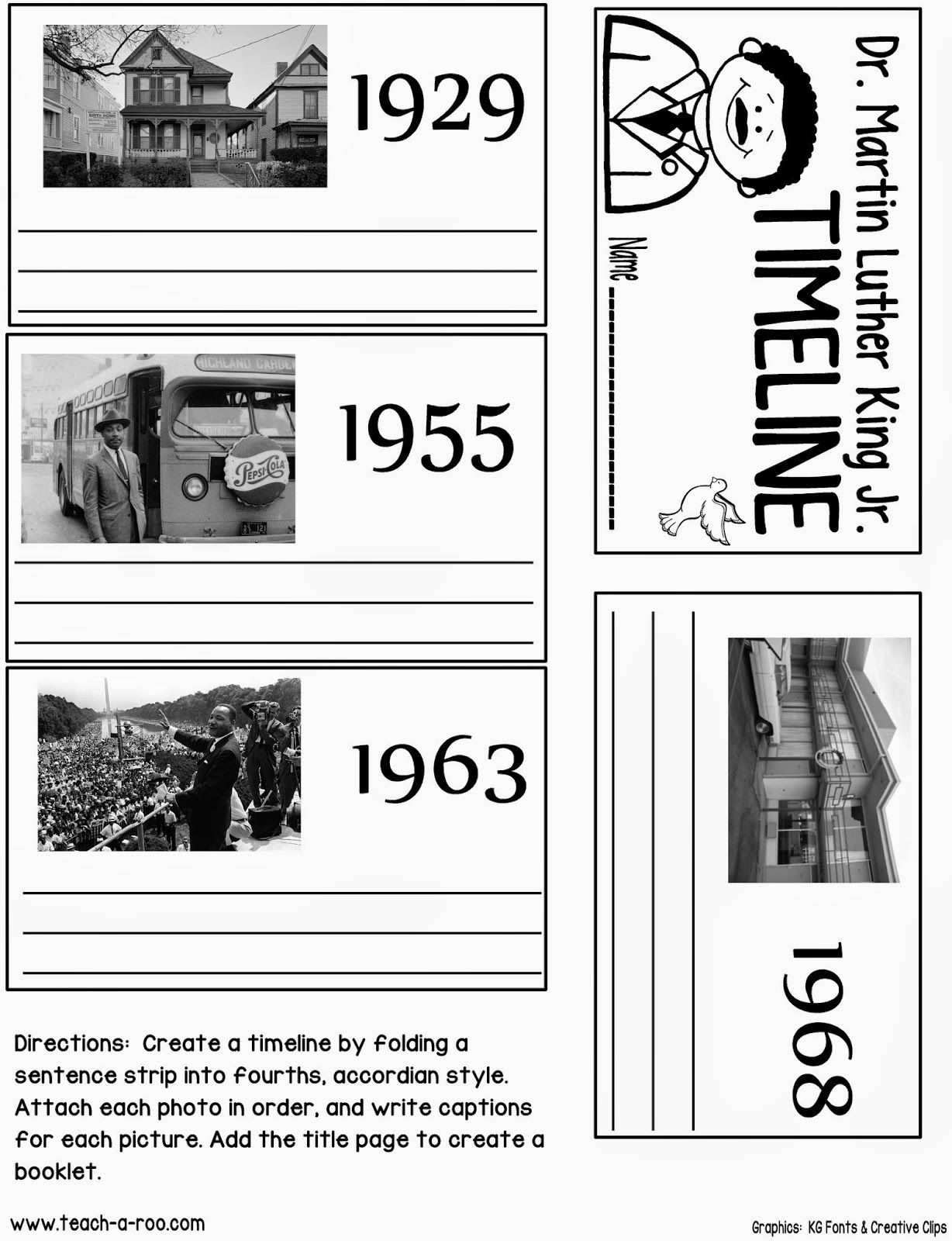 Martin Luther King Jr. Timeline Activity Great for