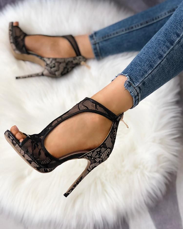 Open Toe Cutout Lace Thin Heel Sandals – cuteshoeswear sandals resort sandals flat sandals outfit casual #comfortable #hiking #cute #2019  #outfit #shoes #style #fashion   #heels