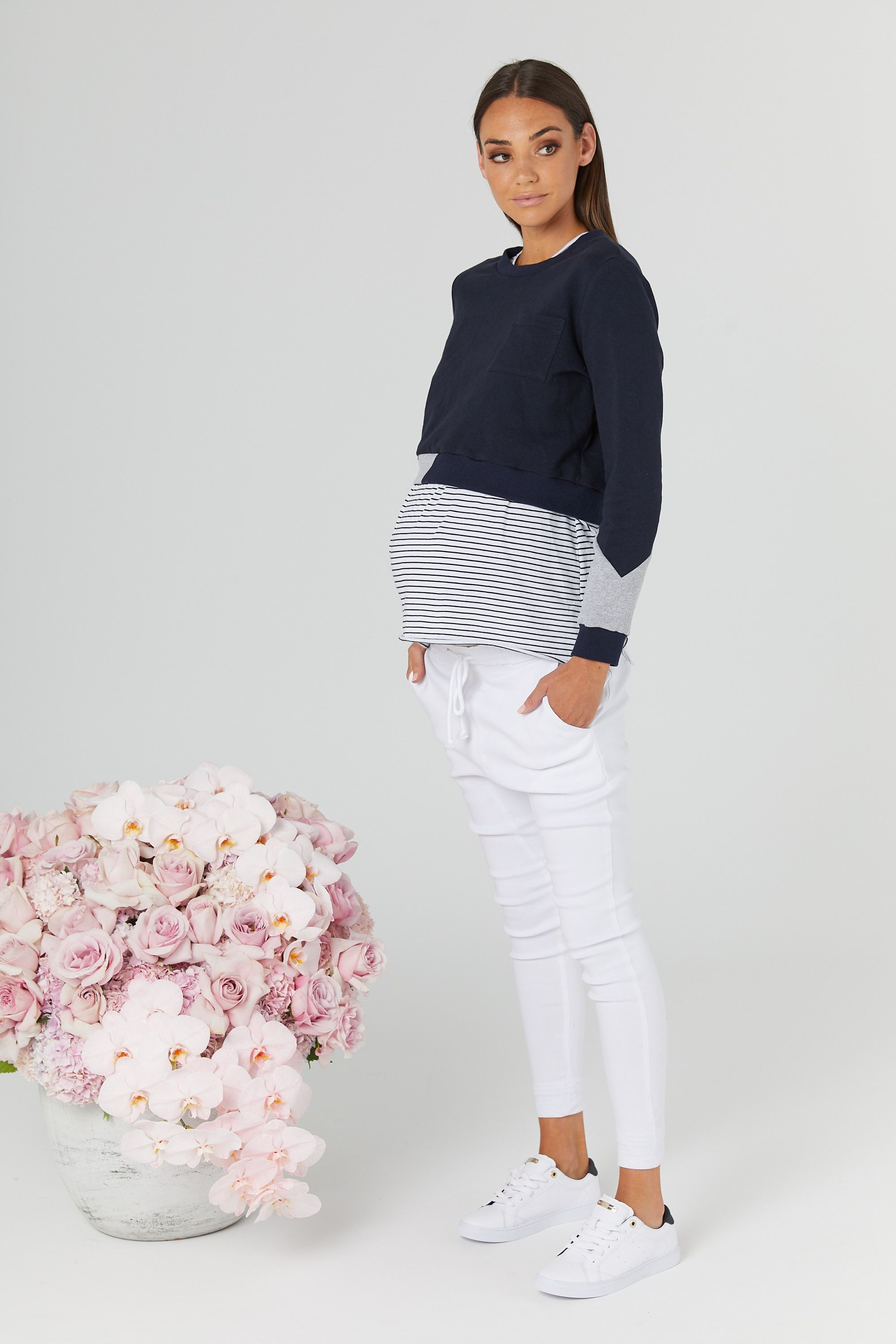 a9984ed340b4f Sweater Crop (Navy/Grey) in 2019 | LEGOE. Maternity + Nursing Tops ...