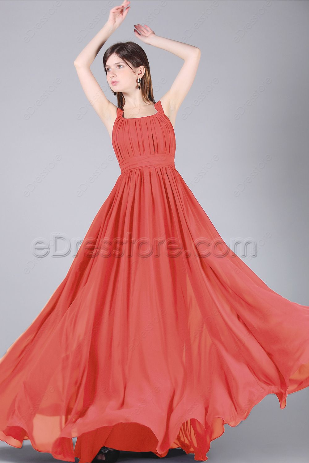 Simple Elegant Coral Long Bridesmaid Dresses Plus Size Long