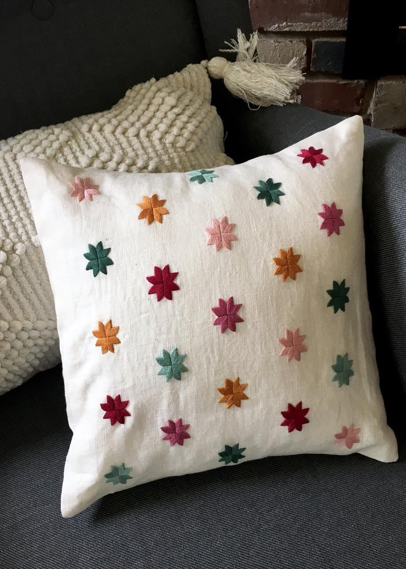 Linen 100% Hand Embroidered Throw Pillow