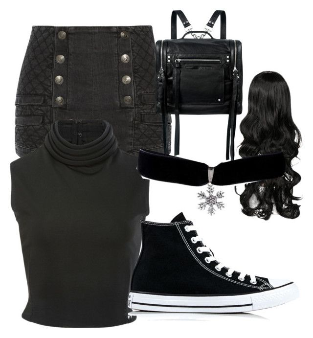 """""""Black"""" by jocelyn-worthington on Polyvore featuring Pierre Balmain, Brandon Maxwell, Converse and McQ by Alexander McQueen"""