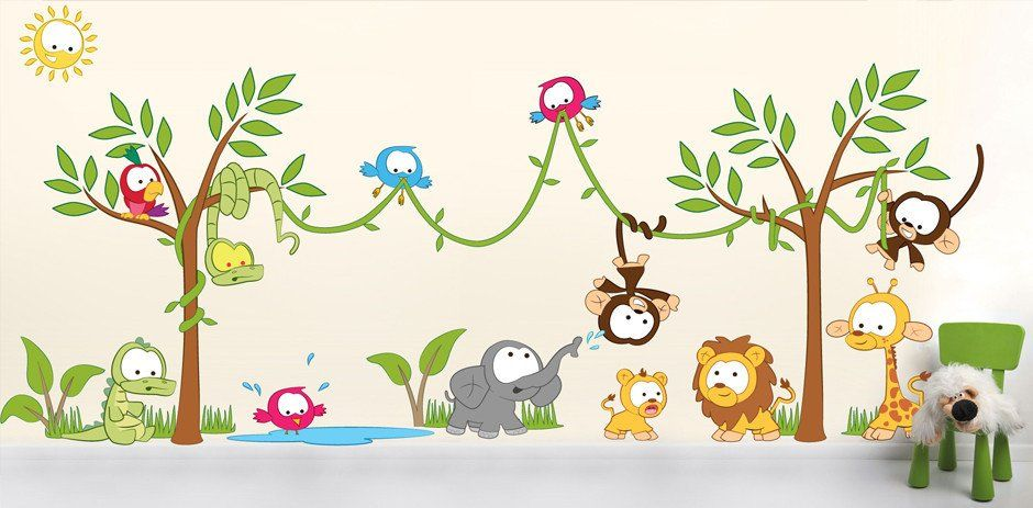 Amazon Jungle Scene Wall Sticker Wall Sticker Scene And Kids - Nursery wall decals jungle