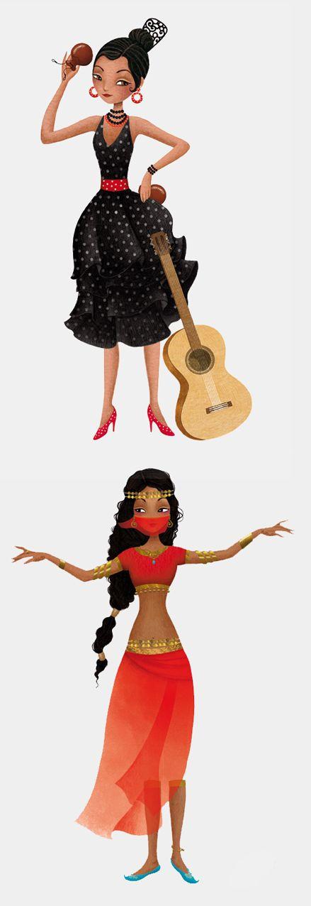 Flamenco et danse du ventre illustrations sibyle art - Danseuse orientale dessin ...