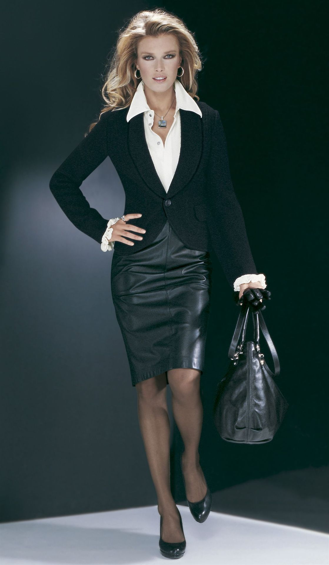Black Leather Pencil Skirt Black Blazer White Blouse Sheer Black ...