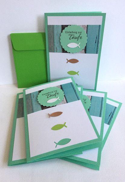 Einladungskarten   6 Taufeinladungen FISCHE Versandkostenfrei   Ein  Designerstück Von POMMPLA Bei DaWanda